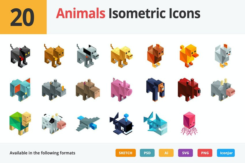Animals Isometric Illustration Icons