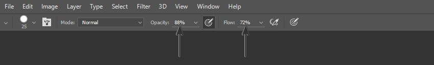 Image showing where to find the Opacity and Flow options in the Options Panel