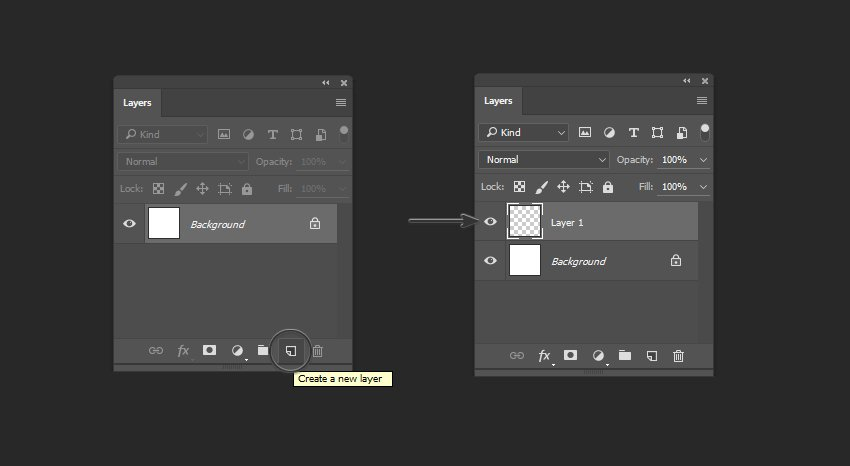 Example of creating a New Layer in the Layers Panel