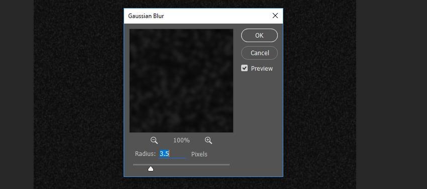 Example of Gaussian Blur settings