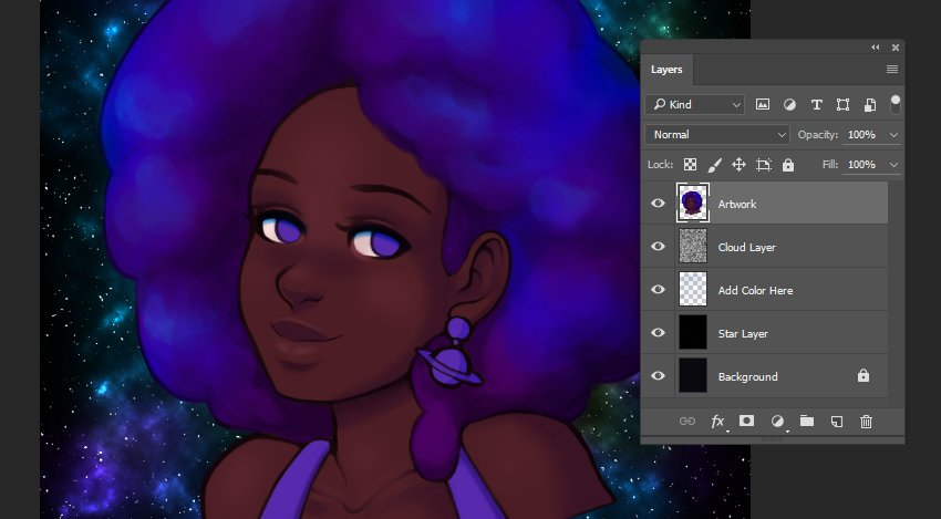 Refinements added to the hair area of the illustration