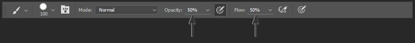 Opacity and Flow in the Options Panel