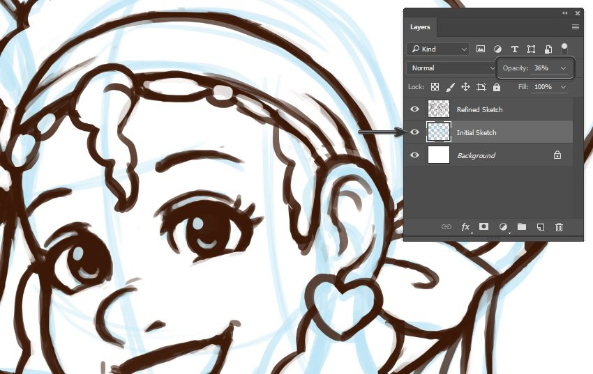 Example of Initial Sketch partially visible behind Refined Sketch