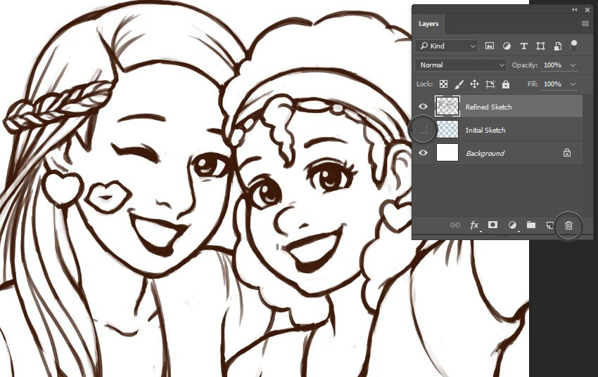Example of Refined Sketch and Hiding Layers