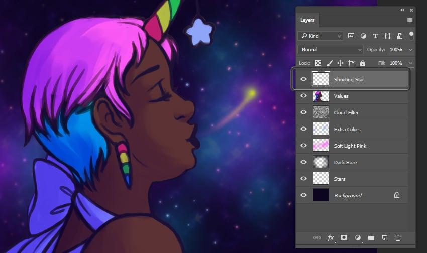 Creating the shooting star