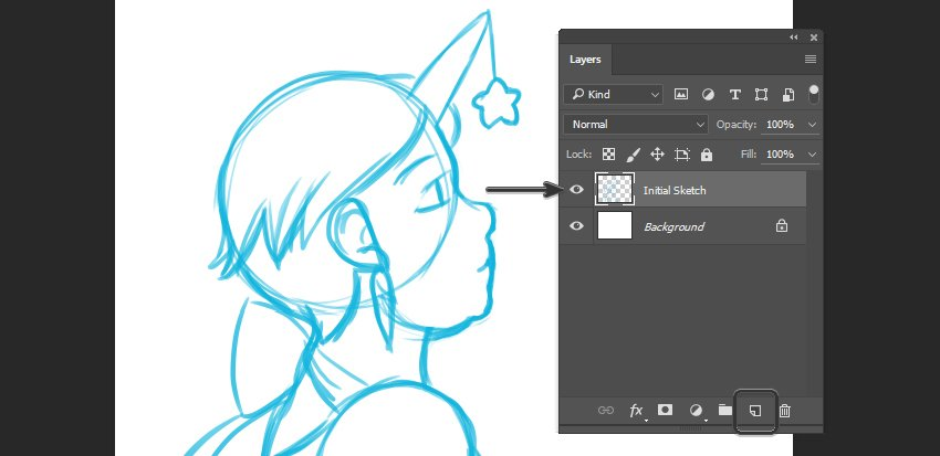 Example of Initial Sketch on New Layer