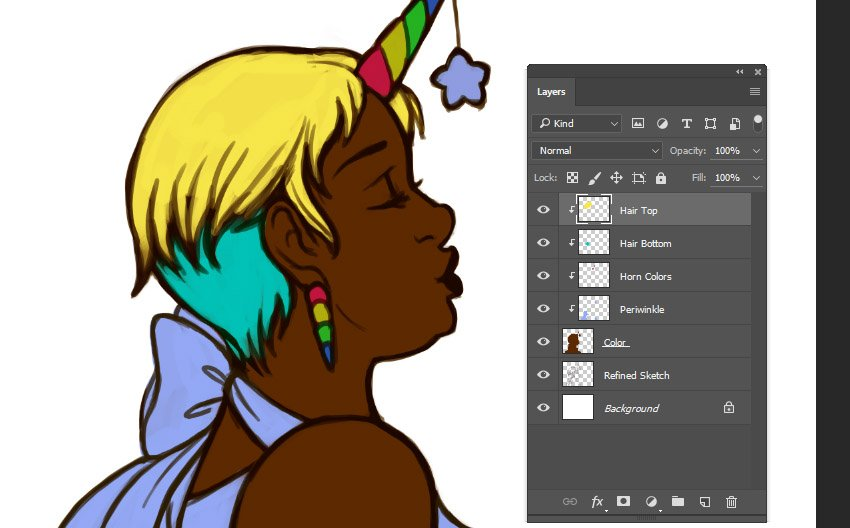 Example of multiple clipping masks when applying color