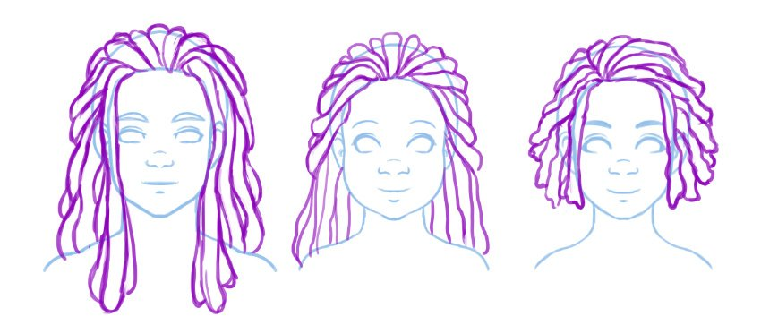 Blocking out different styles in locs