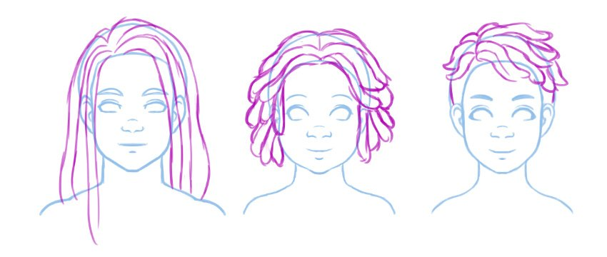 Basic contours illustrating different twist styles