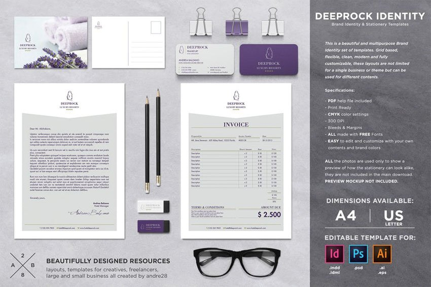 InDesign Stationery Set  Invoice Template