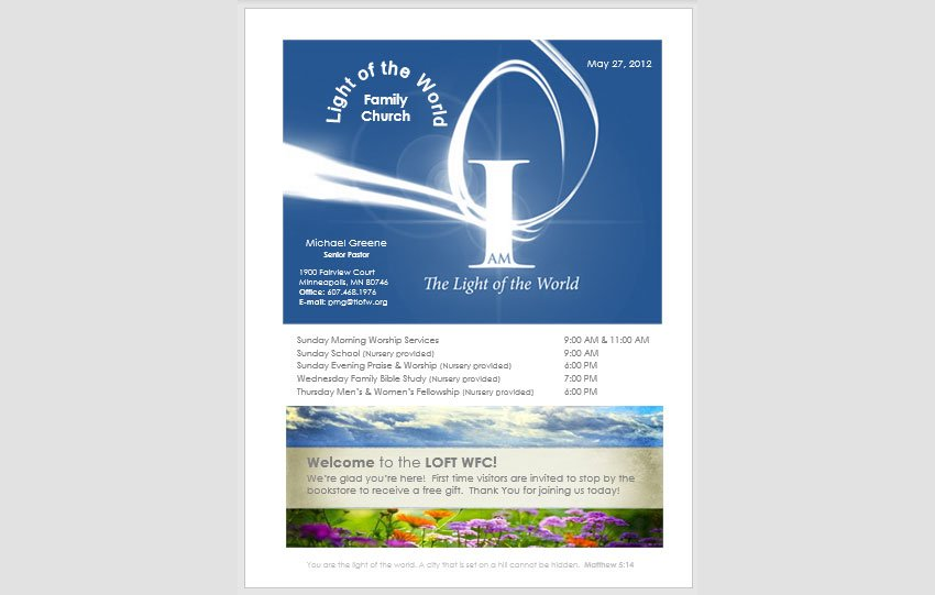 Church Bulletin Template Flyer