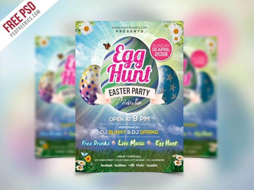 Easter Party Invitation Flyer Template