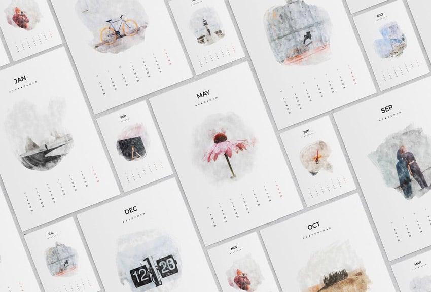 Watercolor Calendar Template