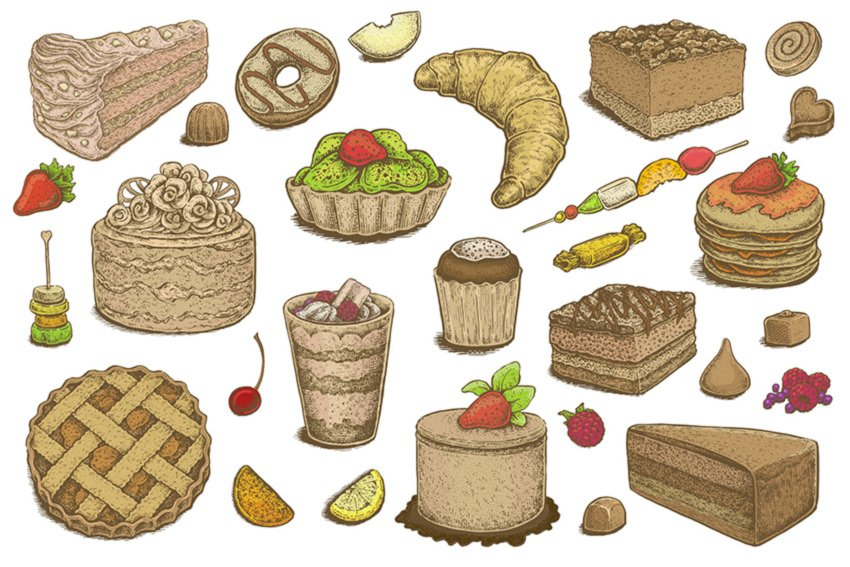 Hand Drawn Desserts Vector Set by Eugenia Hauss