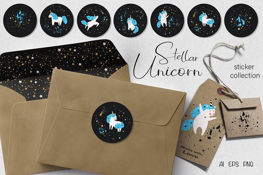 Stellar Unicorn Stickers Set Digital Scrapbook Elements