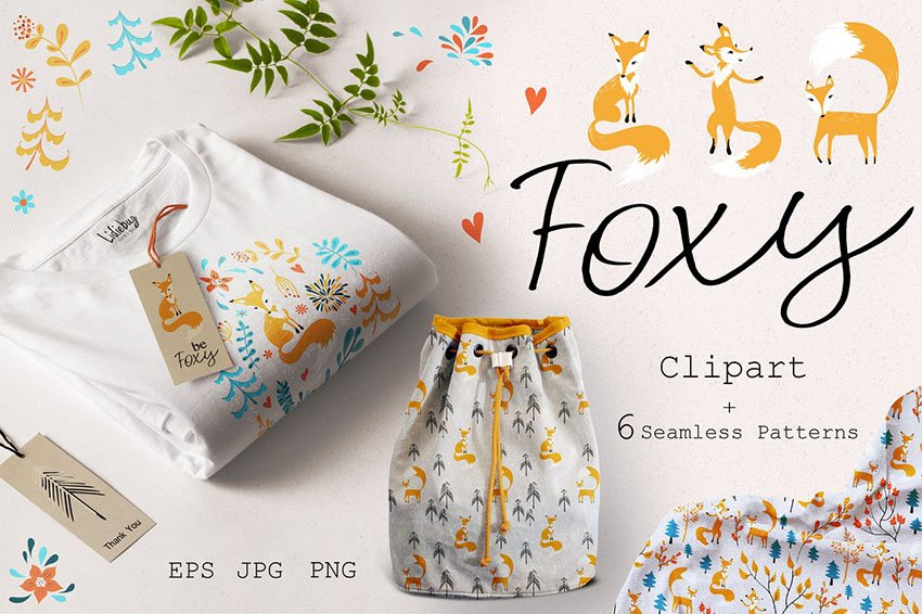 Fox Clip Art and Seamless Patterns