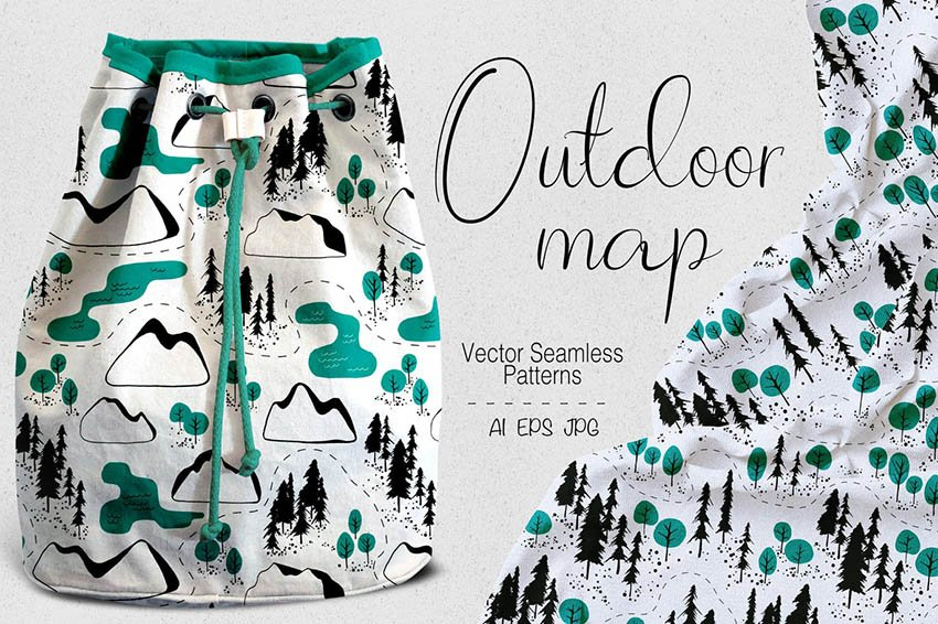 Outdoor Map Seamless Pattern
