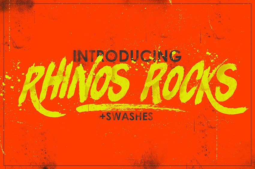 Rhinos Rock Brush Font