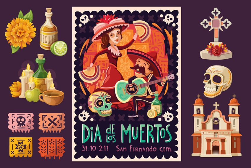 Day of the Dead Poster and Elements by moonery