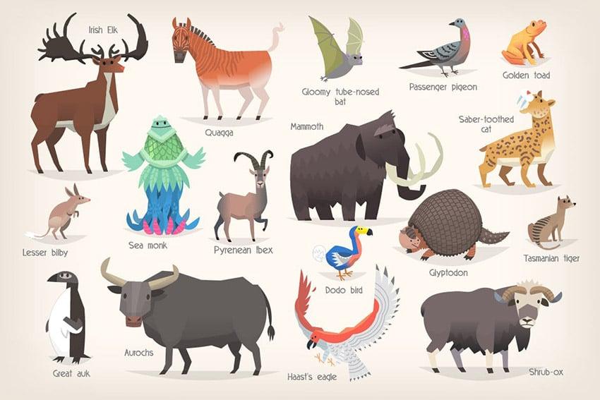 Extinct Animals Illustrations by moonery