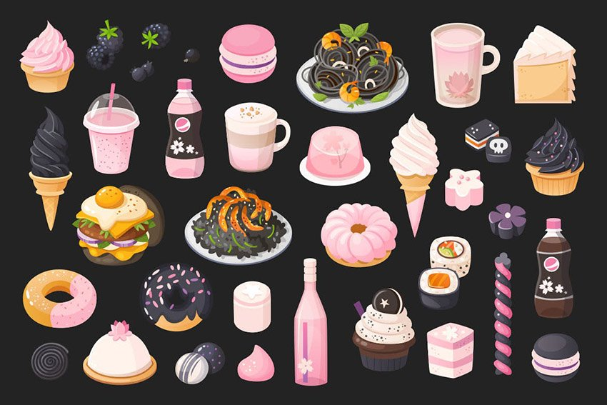 Black and Pink Food by moonery