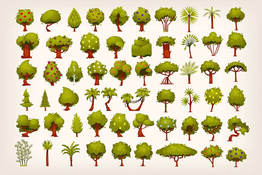 Collection of Tree Illustrations by moonery