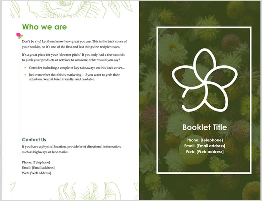 Green Floral Bifold Booklet