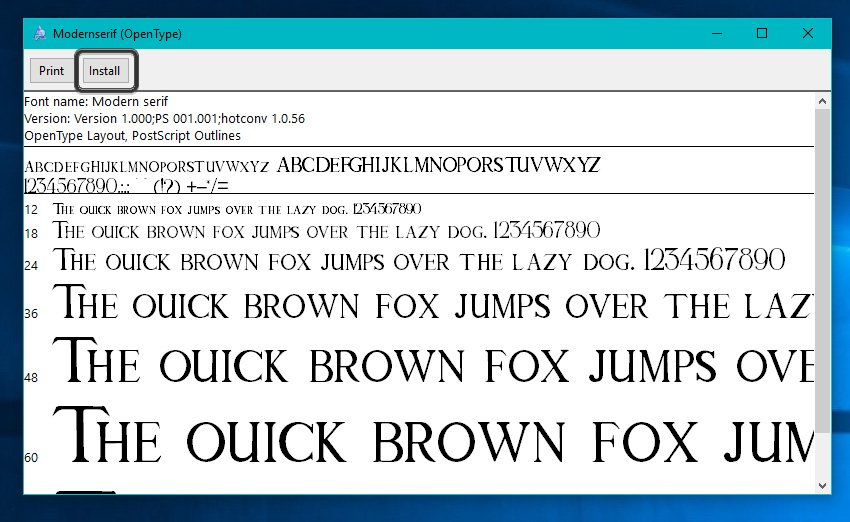 Installing a Font