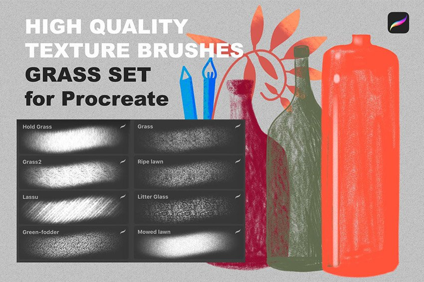 Procreate texture brushes GRASS SET by a_slowik