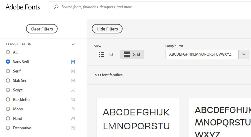 Font Filters