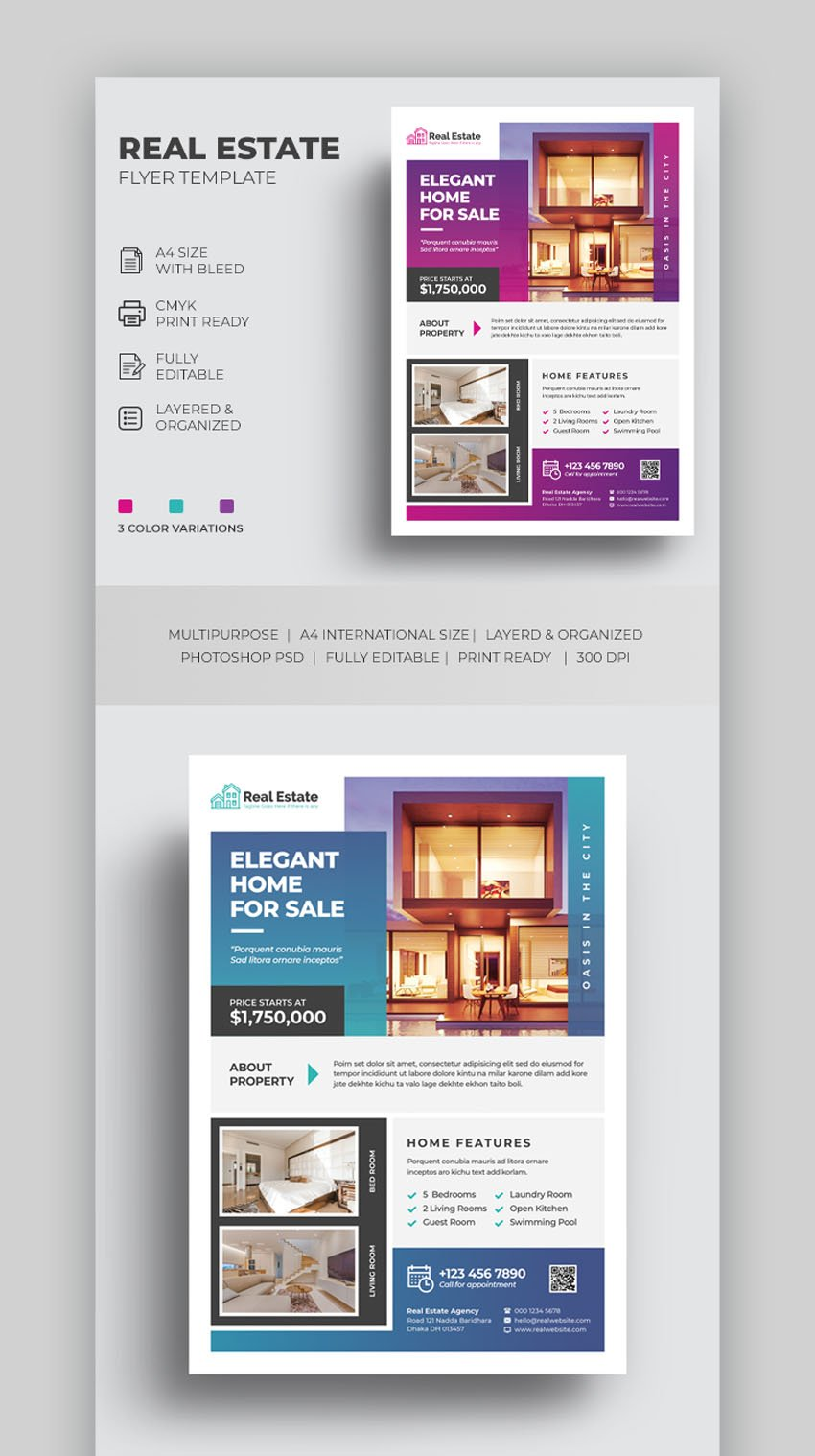 Colorful Real Estate Flyer Template