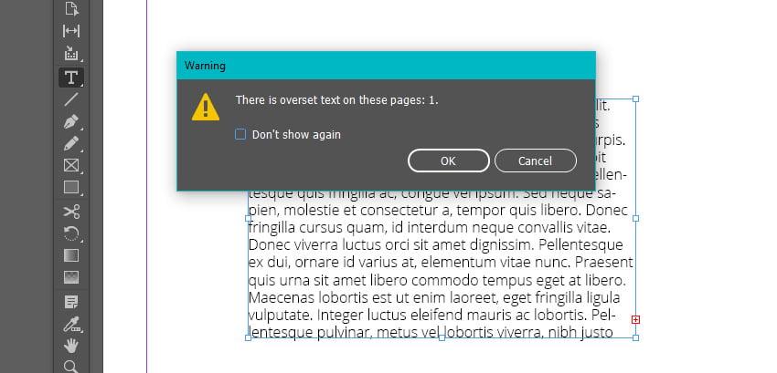 Overset Text Warning