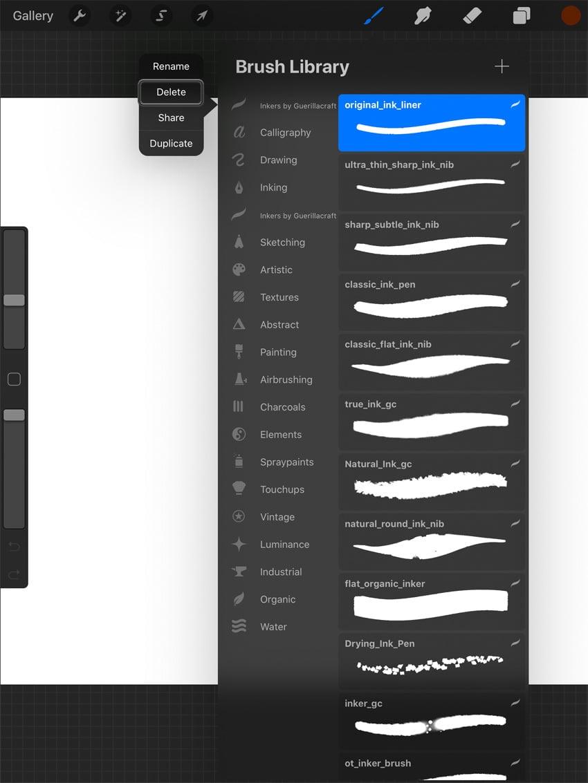 Deleting a Procreate Brush Set