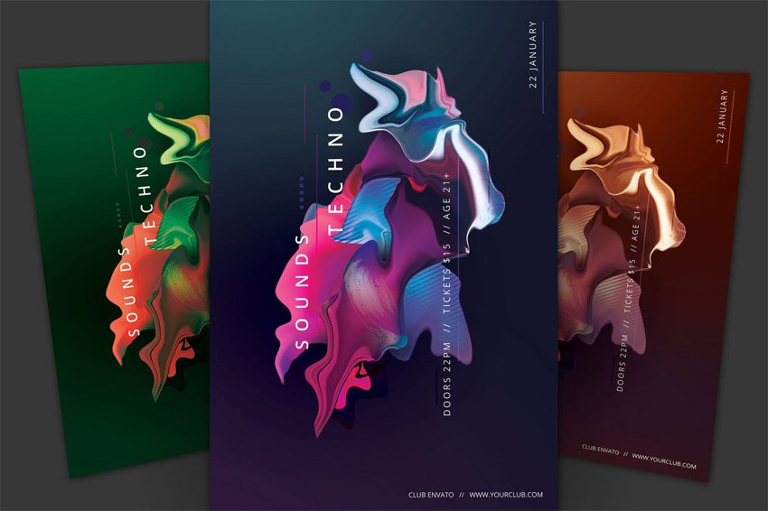 Techno Sounds poster design by Wout Vromans styleWish