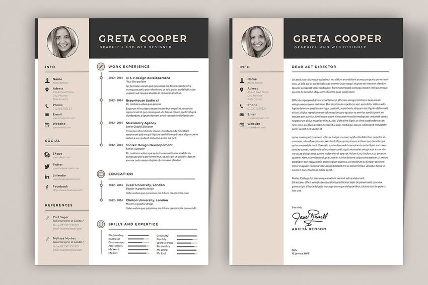 InDesign Resume Template and Cover Letter