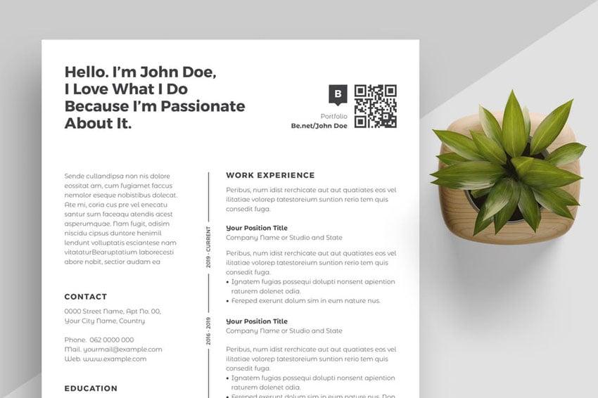 Clean Resume InDesign Template Design