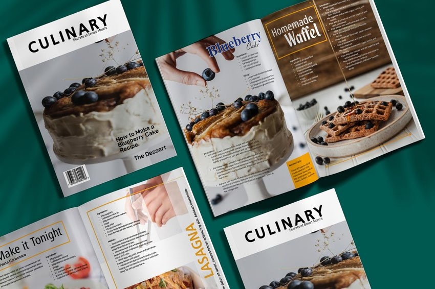 Culinary Food Magazine Cookbook Template
