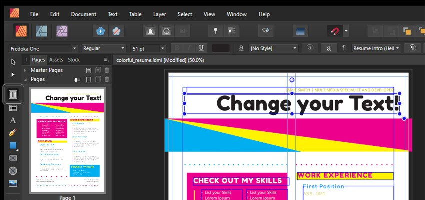 Affinity Publisher Frame Text Tool