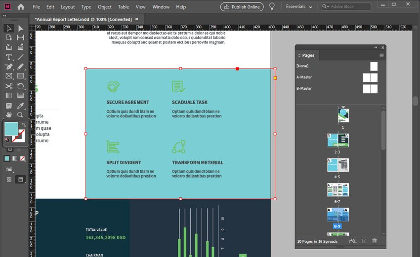 InDesign Annual Report Fill Color Change