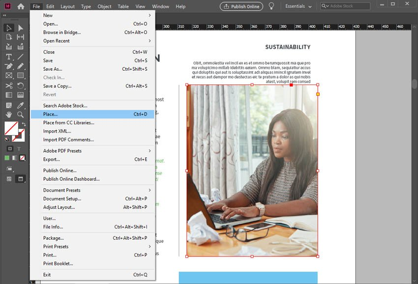 Place Imagery InDesign