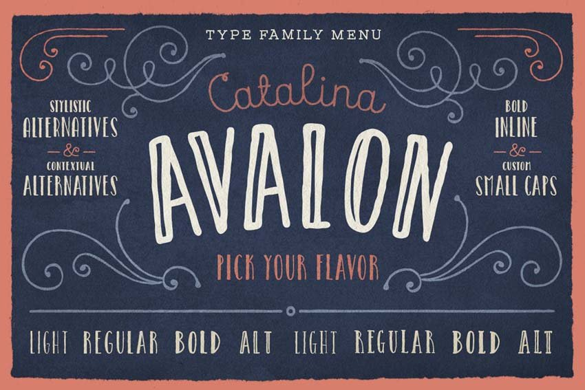 Catalina Avalon Drawn Type Family Font