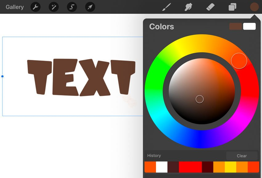 Procreate text color