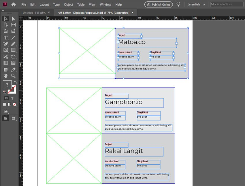 InDesign Move Tool