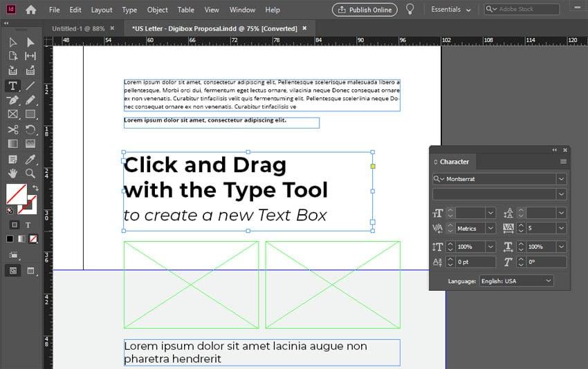 InDesign Text Box