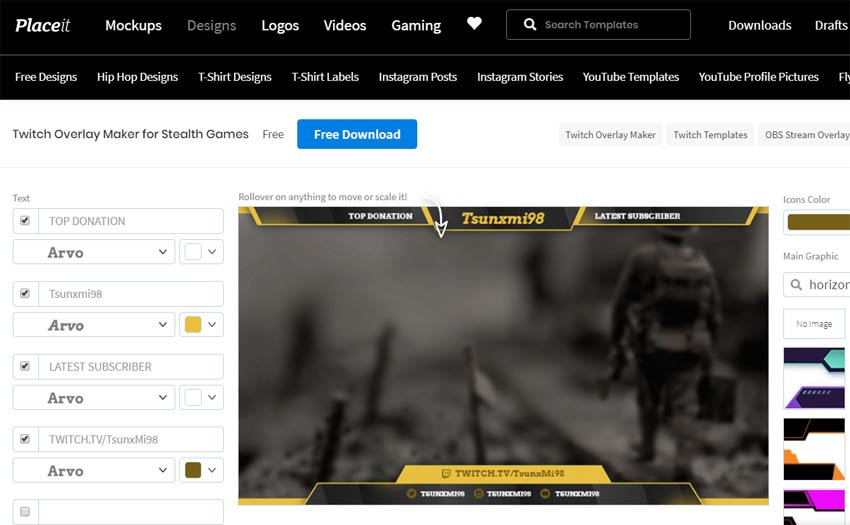 Free Twitch Overlay Maker