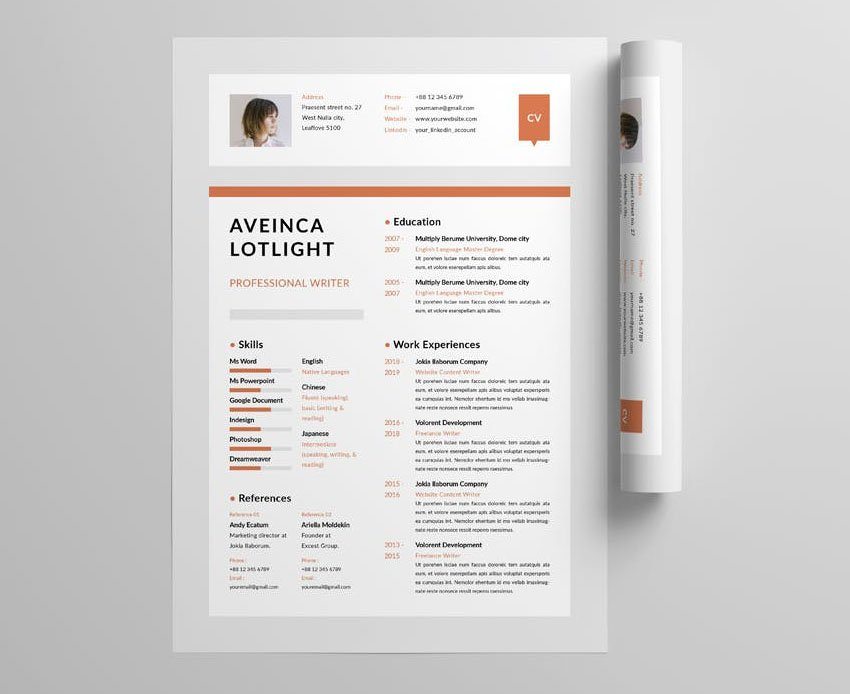 InDesign One Page Resume Template