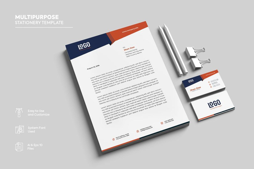 business card and letterhead design template