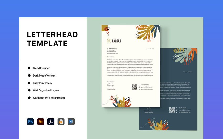 Stationery Letterhead Template for Word