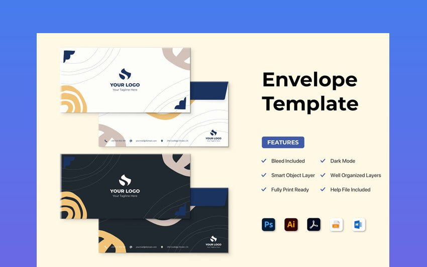 Envelope Stationery Template for Microsoft Word