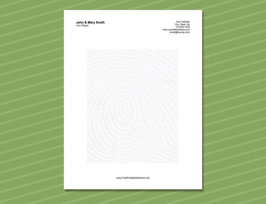 Thumbprint Letterhead Stationery Template